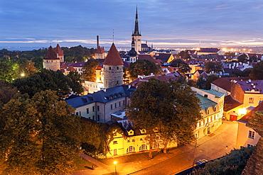 St. Olaf's Church and surrounding cityscape at dusk, Tallin, Estonia