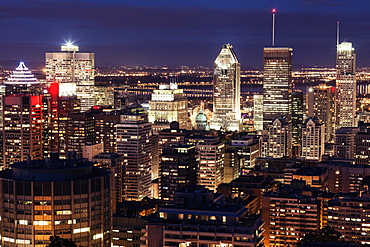 Cityscape with illuminated skyscrapers, Quebec, Canada
