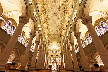 Basilica of Sainte-Anne-de-Beaupre, View along nave towards altar, Quebec, Canada