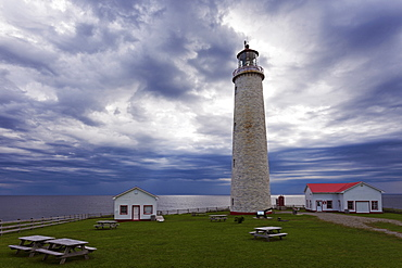 Lighthouse in green camping ground against clouded sky, Quebec, Canada