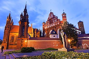 St. Ann and St. Bernardine Churches against evening sky, Lithuania