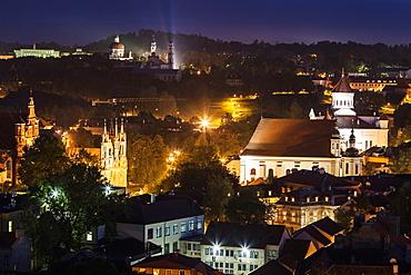 Illuminated cityscape, Lithuania