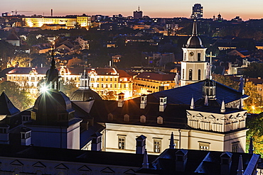 Elevated view of city at tight, Lithuania