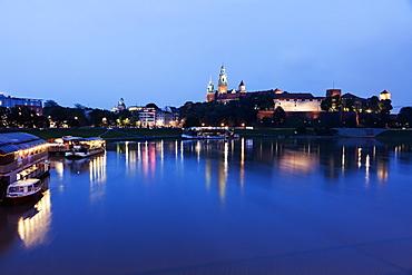 Wawel Royal Castle and Vistula River evening time, Poland