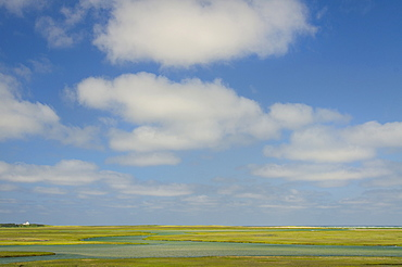 Cloudy sky view over tidal marsh, Cape Cod, Massachusetts