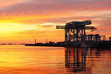 Colorful sky over Boston Harbor Dock, Boston, Massachusetts