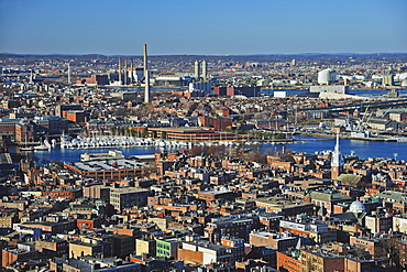 Aerial view of North End and Charlestown areas of Boston, Boston, Massachusetts