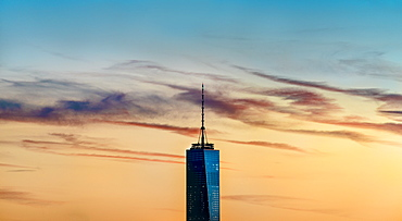 Freedom tower with sunset sky, New York City, New York