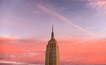 Empire State Building with sunset sky, New York City, New York