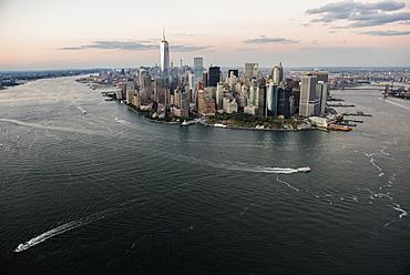 Manhattan skyline at dusk, New York, New York