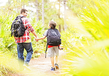 Father and son (12-13) walking in forest, Jupiter, Florida