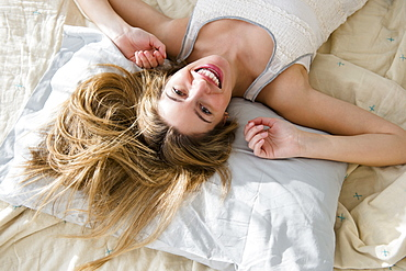 Portrait of woman waking up