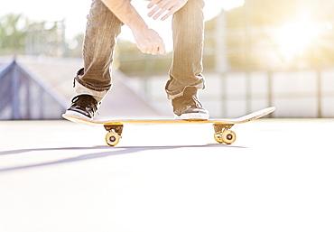 Man skateboarding in skatepark, West Palm Beach, Florida