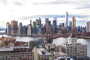 Cityscape with river, New York City, New York