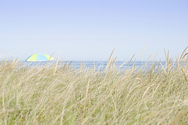 View of beach umbrella by sea, Nantucket Island, Massachusetts, USA