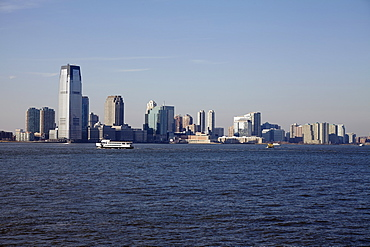 View of waterfront cityscape, Jersey City, New Jersey