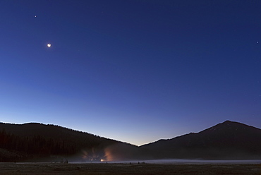 Scenic view of landscape at night, Sparks Lake, Oregon