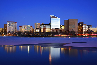 Waterfront at dusk, reflection in water, Boston, Massachusetts