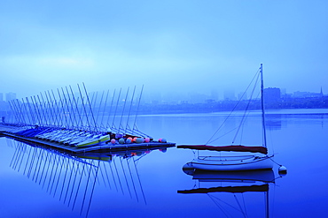 Row of boats foggy morning on Charles river, Charles River, Boston, Massashusetts,USA