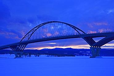 Lake Champlain Bridge connecting New York and Vermont States at dusk, Lake Champlain Bridge, Crown Point, New York,USA