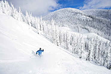 Man skiing down mountain, Whitefish, Montana, USA