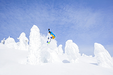 Snowboarder jumping over snowy tree, Whitefish, Montana, USA