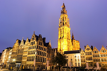 Illuminated Cathedral of Our Lady and townhouses, Cathedral of Our Lady, Antwerp, Flemish Region, Belgium