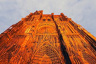 Illuminated facade of Strasbourg Minster against sky, Strasbourg Minster,Strasbourg, Alsace, France