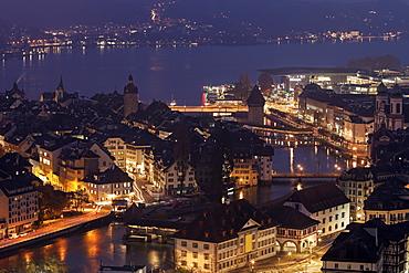 Illuminated lakeside cityscape , Lucerne, Switzerland