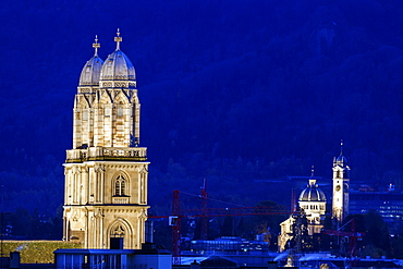 Grossmunster Church bell towers against night sky, Churches of Zurich - Grossmunster,Zurich, Switzerland