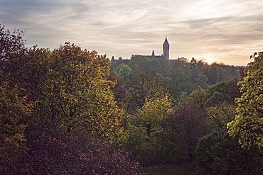 Sacre Coeur church in distance at sunset, Sacre Coeur church, Luxembourg City, Luxembourg