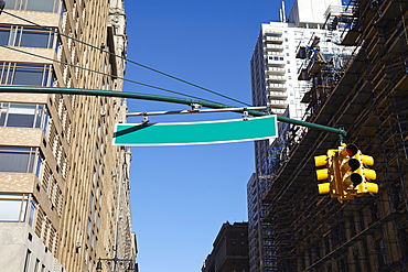 Low angle view of road sign, New York City, New York,USA
