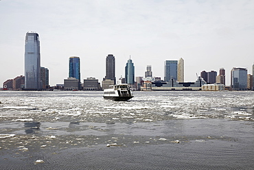 View of waterfront cityscape, Jersey City, New Jersey,USA