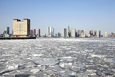 City skyline in winter, Hudson River, New York,USA