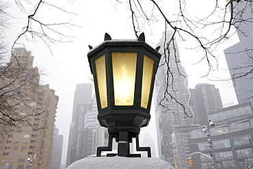 Low-angle view of antique lantern, New York City, New York,USA