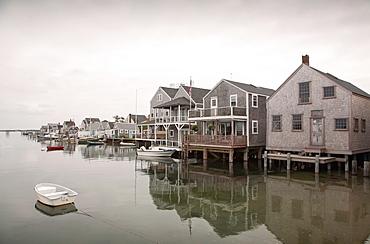 Boats and stilt houses, Old North Wharf, Nantucket, Massachusetts,USA
