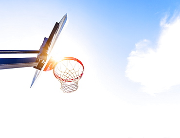 Low-angle view of basketball hoop