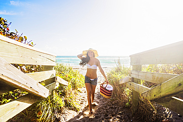 Portrait of young woman on beach, Jupiter, Florida,USA