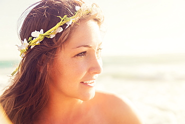 Portrait of woman with flower wreath on head, Jupiter, Florida,USA