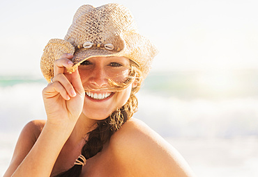 Portrait of woman in cowboy hat, Jupiter, Florida,USA