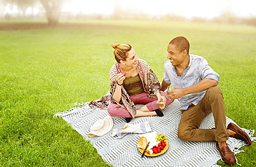 Mid adult couple having picnic in park