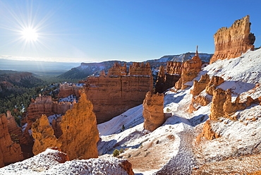 View of winter landscape, USA, Utah, Bryce Canyon National Park
