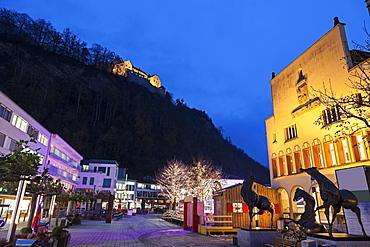Town Hall and Vaduz Castle, Liechtenstein, Vaduz, Town Hall,Vaduz Castle