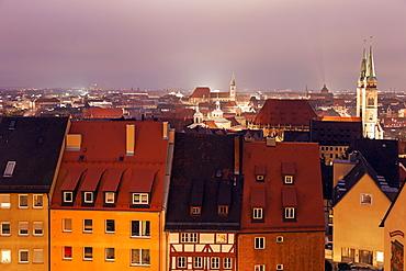 Old town at night, Germany, Bavaria, Nuremberg, Old town