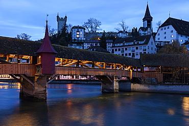 Spreuer Bridge, Switzerland, Lucerne, Spreuerbrucke, city wall towers