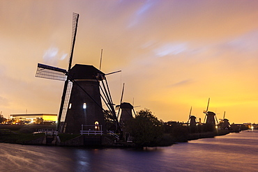 Silhouette of traditional windmills, Netherlands, South Holland, Kinderdijk