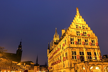 Town square with gothic town hall, Netherlands, South Holland, Gouda, Gouda Market Square, gothic, City Hall
