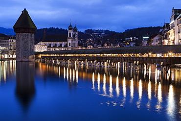 Chapel Bridge and Jesuit Church, Switzerland, Lucerne, Chapel Bridge,Kapellbrucke,Jesuit Church