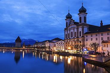 Chapel Bridge and Jesuit Church, Switzerland, Lucerne, Chapel Bridge,Jesuit Church
