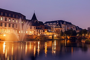 Old town at night, France, Alsace, Strasbourg